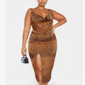 Plus Leopard Print Strappy Satin Cowl Midi Dress